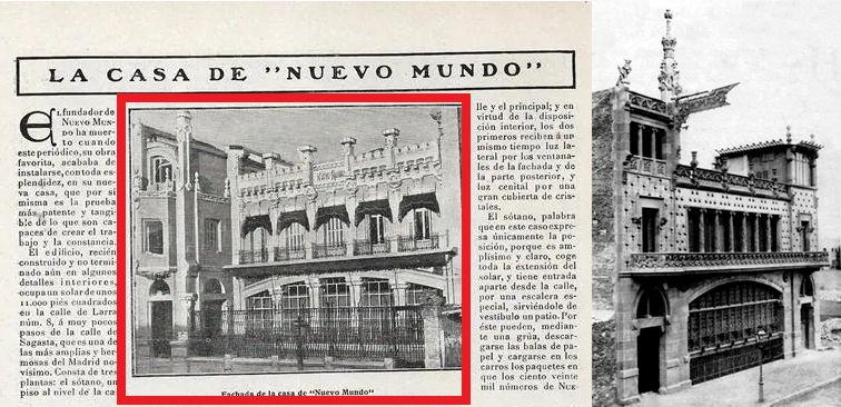 Casa o Semanario Nuevo Mundo (aspecto original, inspirado en la Casa Thomas de Barcelona) en Larra 14