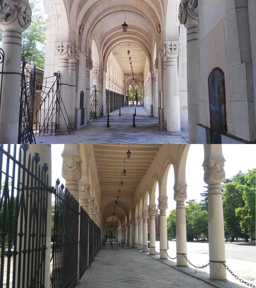 Interior del pórtico principal de acceso al Cementerio de La Almudena