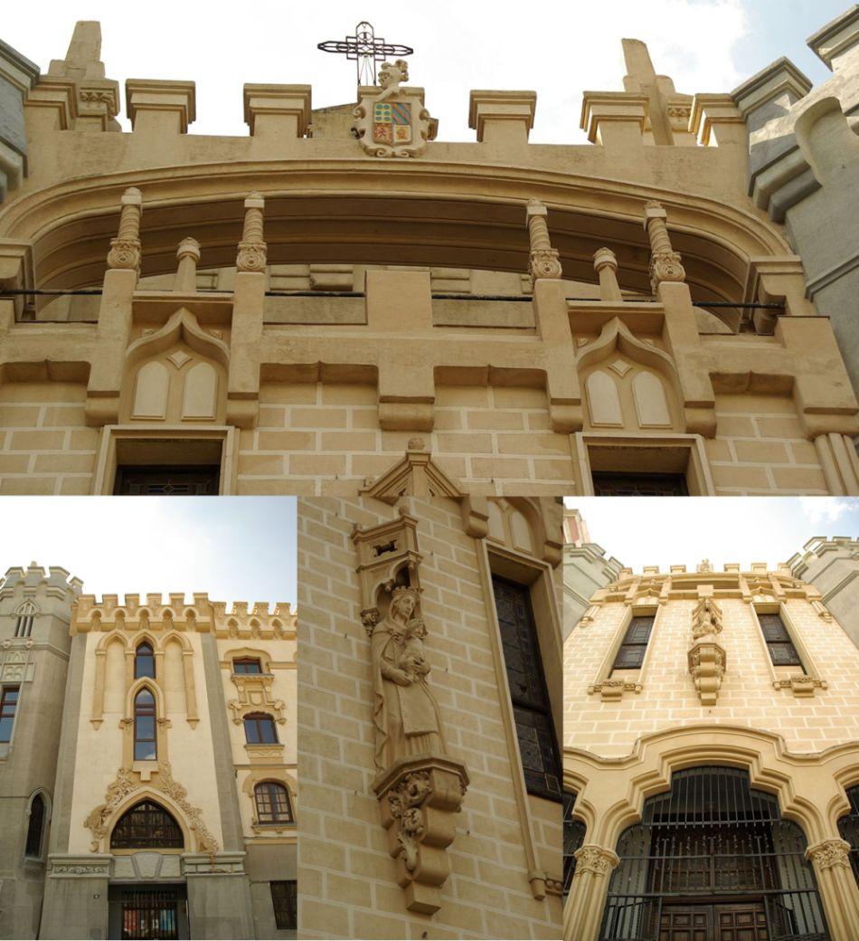 Más detalles de la Iglesia de Santa Teresa y San José y Convento de los Padres Carmelitas, un edificio de Art Nouveau historicista (sobre una moderna estructura de hormigón armado) en pleno apogeo Art Decó