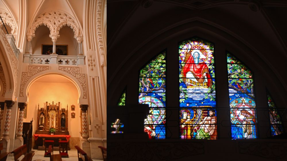 La profusión Art Nouveau-neomudéjar-alhambrista en el interior de la iglesia de la Buena Dicha junto a la vidriera Maumejean que da a la fachada principal