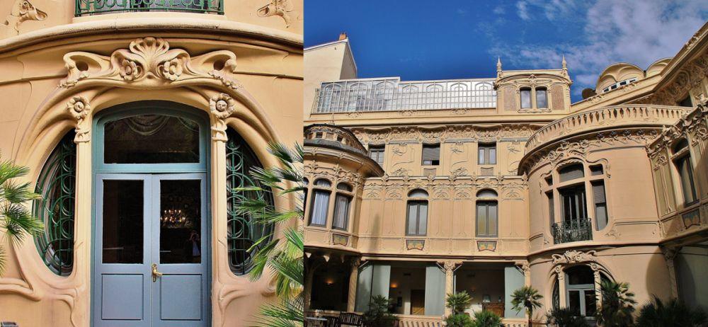 Fachada posterior del Palacio de Longoria y la puerta de la misma