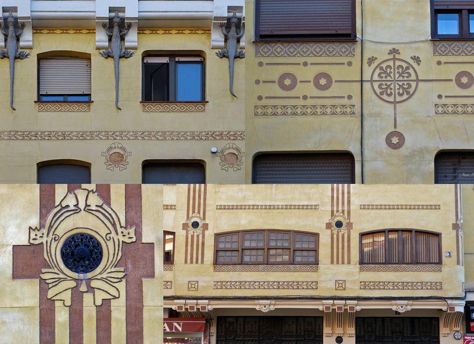 Detalles de Modernismo secesionista en la Casa de los Lagartos