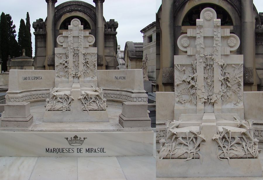 Panteón de Vicenta Palavicino de Avial (tercera sección del Patio de Santa Gertrudis en el Cementerio Sacramental de San Justo), Art Nouveau afrancesado