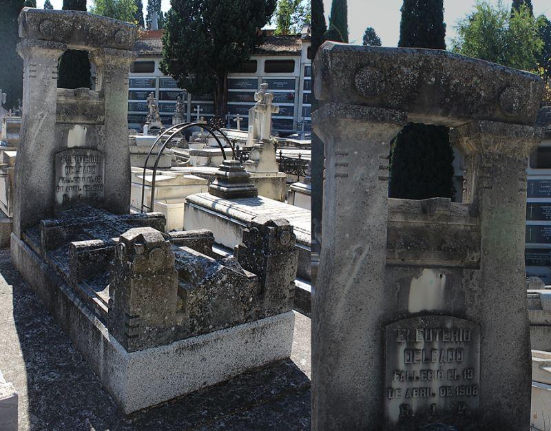 Sepultura de Eleuterio Delgado (cuarta sección del Patio de Santa Gertrudis en el Cementerio Sacramental de San Justo).