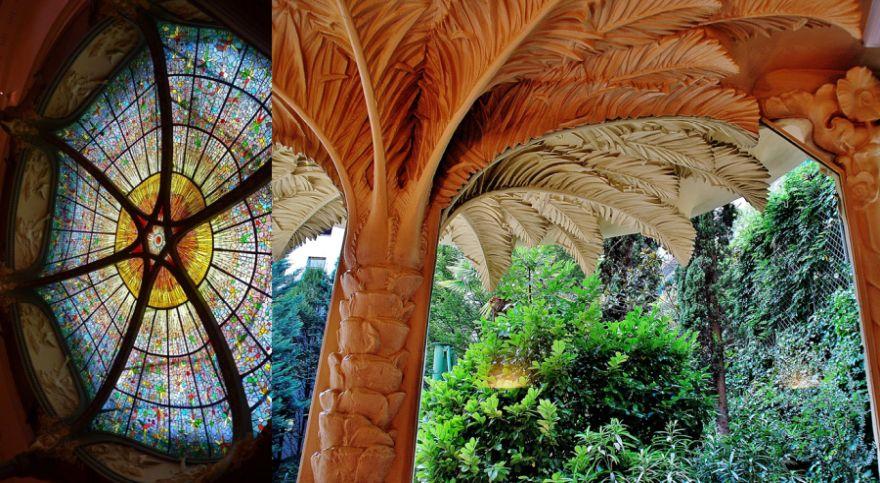 La vidriera sobre la cúpula y una de las columnas en forma de palmera que se encuentran en el Palacio de Longoria