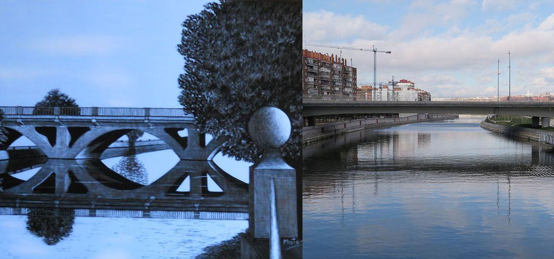 Segundo puente Princesa de Asturias Madrid y actual en Madrid Río