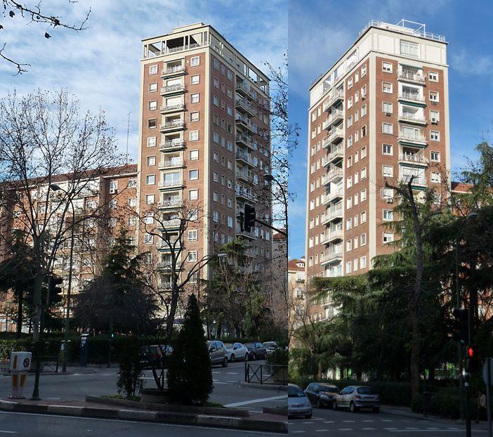 Primeros rascacielos españoles en la calle Presidente Carmona de Madrid