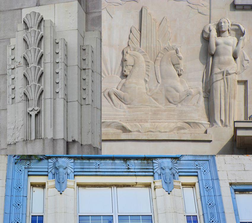 Bajorrelieves animales y vegetales en arquitectura Art Decó