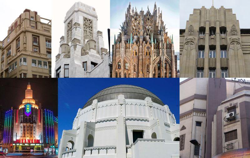 Edificios de arquitectura Art Decó Zigzag Moderne
