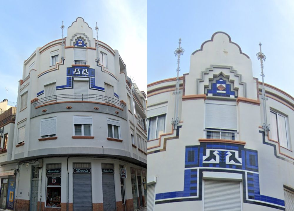 Viviendas Cisneros o Edificio La Pajarita, Art Decó en Málaga