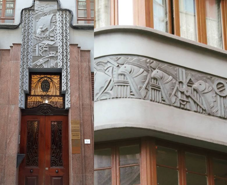 Bajorrelieves Zigzag Moderne en la calle Carlos Bertrand del Gijón Art Decó