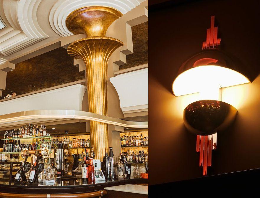Decoración Art Decó del Café Dindurra