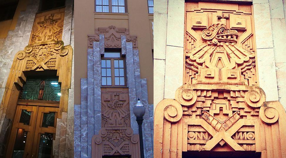 En detalle, la ornamentación precolombina en esta joya del Gijón Art Decó en la plaza San Miguel, 10