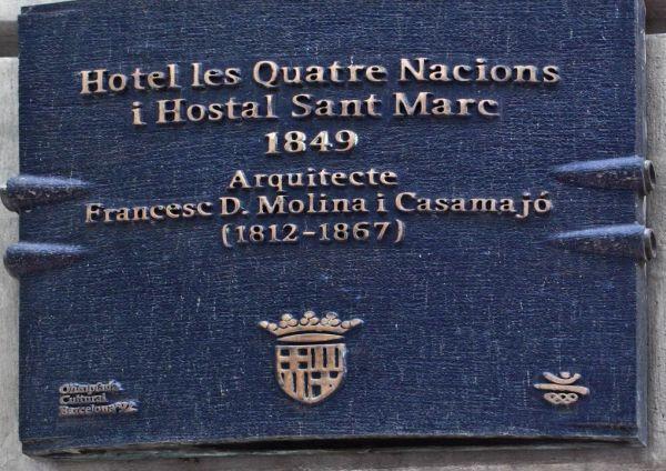 Placa hotel Cuatro Naciones Barcelona