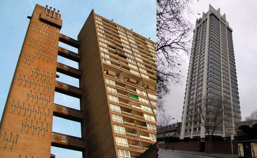 Otros 2 pioneros rascacielos Brutalismo de Londres