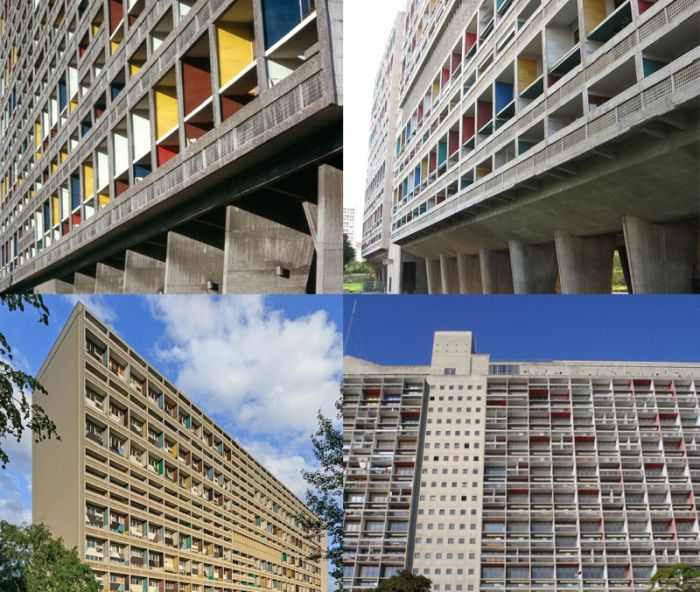 Edificios Unité d Habitation de Le Corbusier y Barcelona