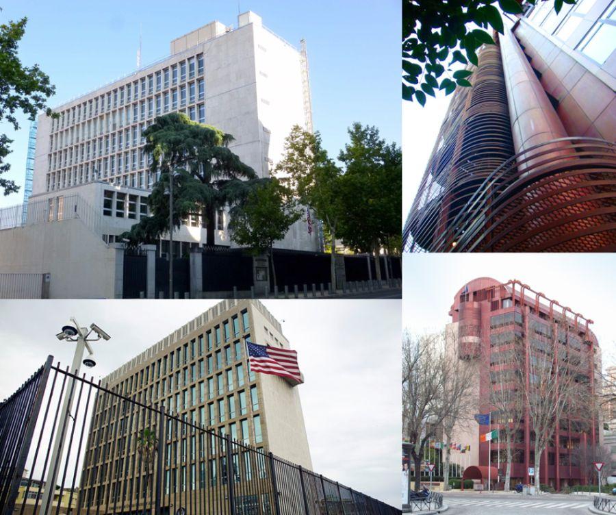 Edificios de Madrid, la embajada de EEUU y la de Irlanda
