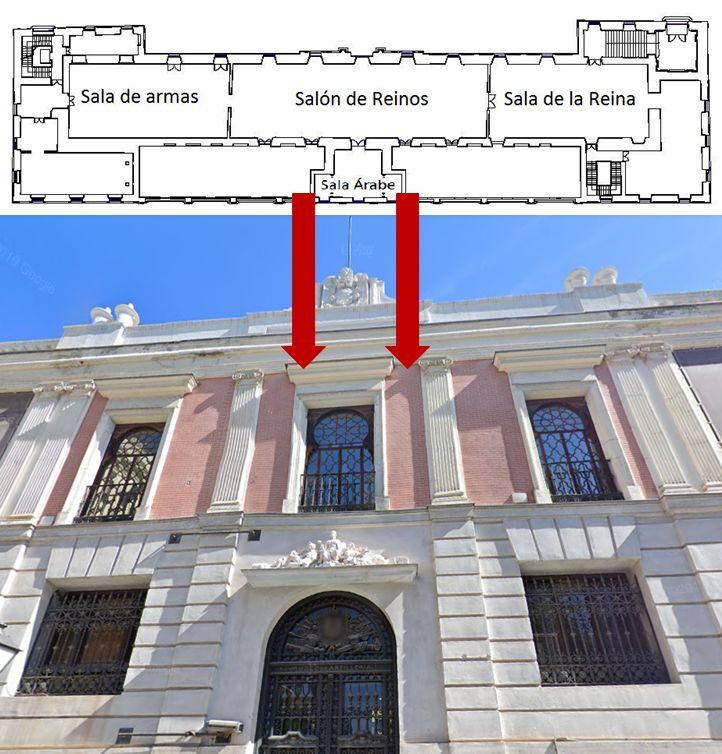 Alhambrismo madrileño en las ventanas del Salón de Reinos a Méndez Núñez