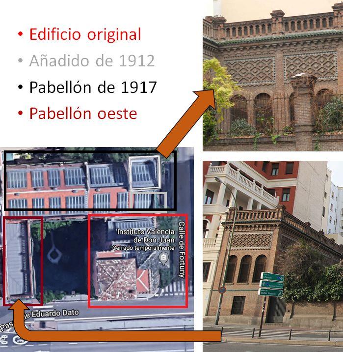 Fases de construcción del Instituto Valencia de Don Juan en la calle Fortuny