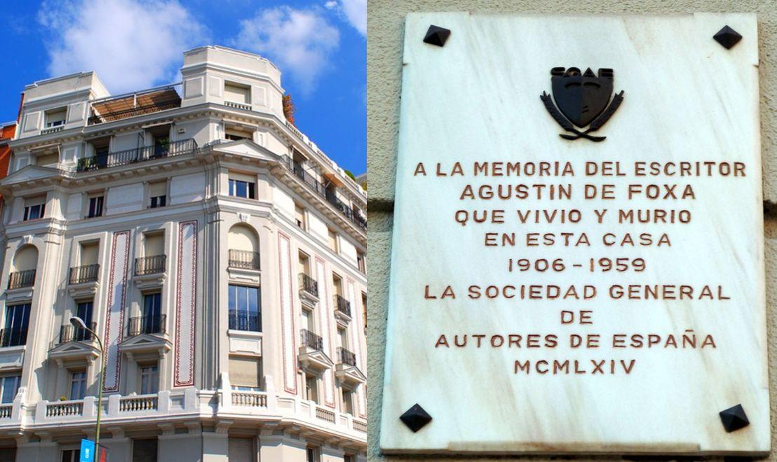 Agustín de Foxá en la calle Ibiza 1 de Madrid