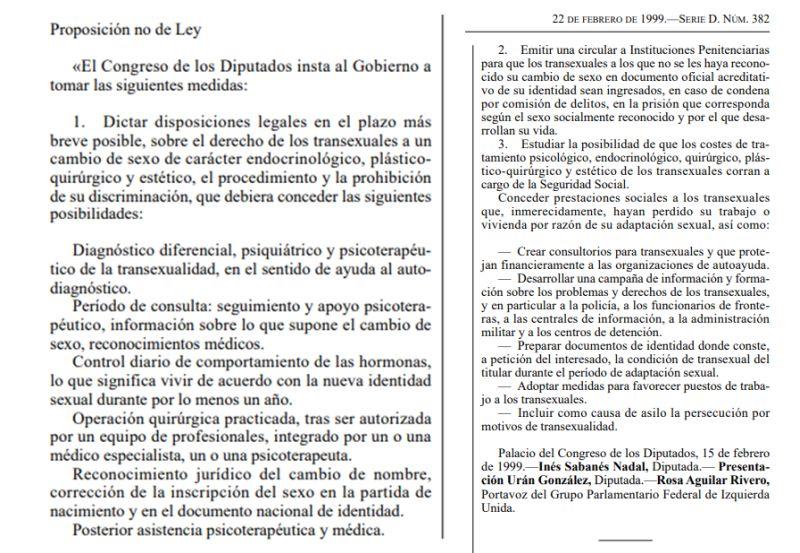 Contenido proposición no de ley derechos trans IU 1999
