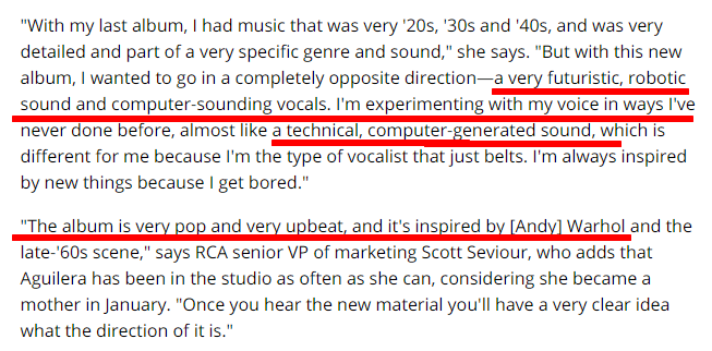 El concepto previo a Bionic de Christina Aguilera