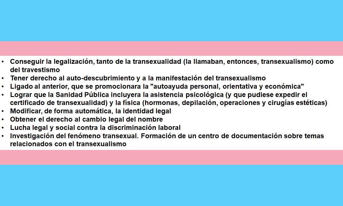 Objetivos generales de AET Transexualia en los 90