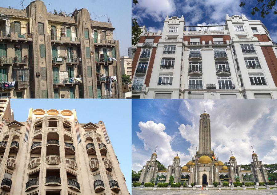 Art Decó Zigzag Moderne en El Cairo, Madrid, Montevideo y Malasia