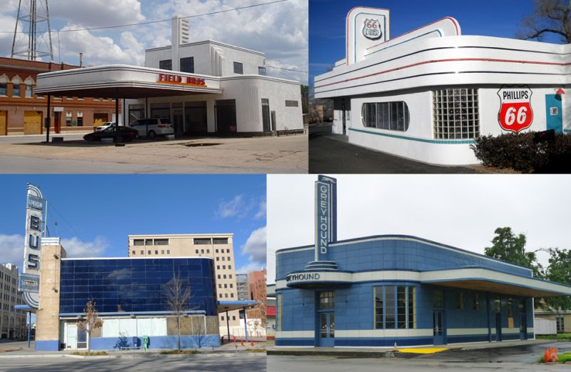 Edificios Art Decó Streamline Moderne con mástil