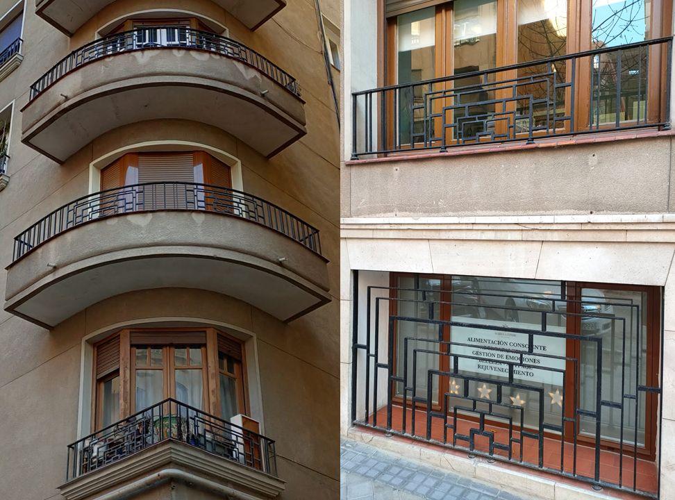 Balcones aerodinámicos y rejerías Art Decó en Viriato 65