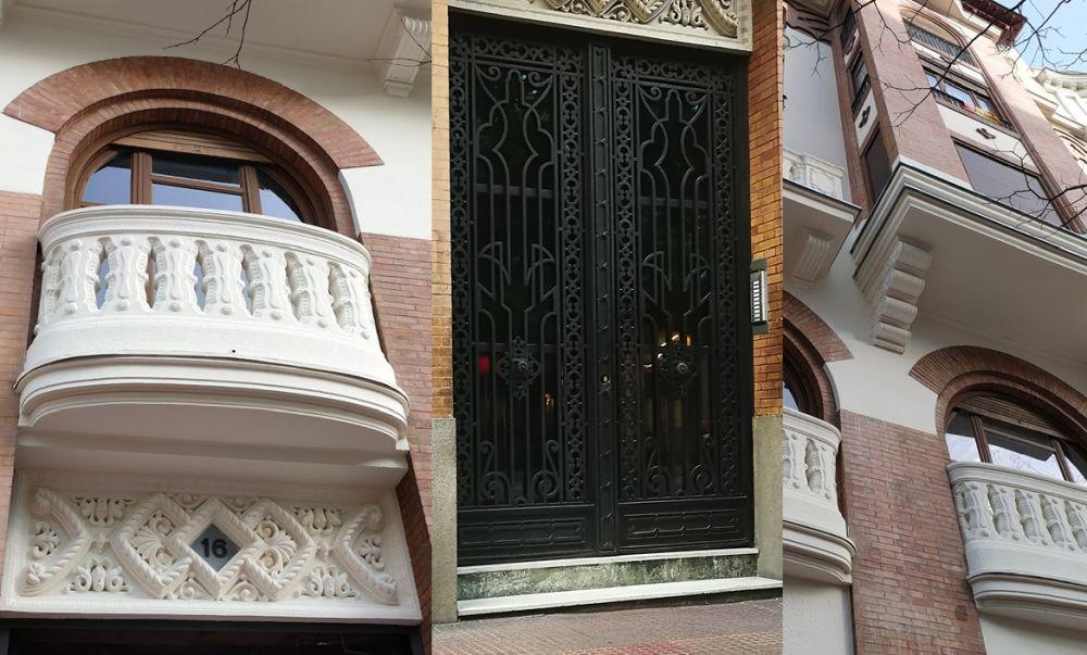 Detalles arquitectónicos del Madrid Art Decó en Miguel Ángel