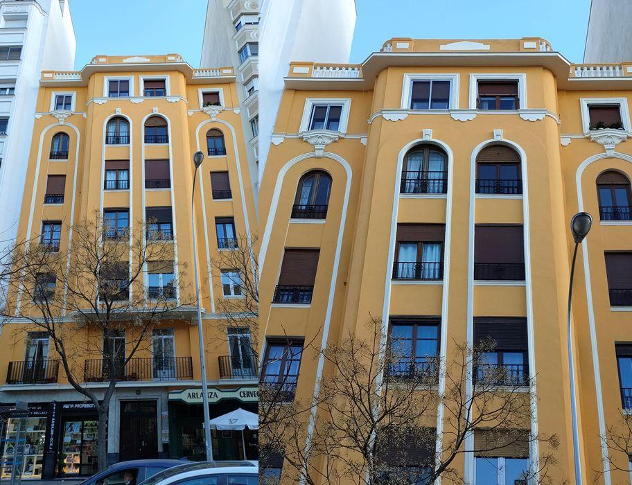 Edificio de arquitectura Zigzag Moderne en avenida Reina Victoria