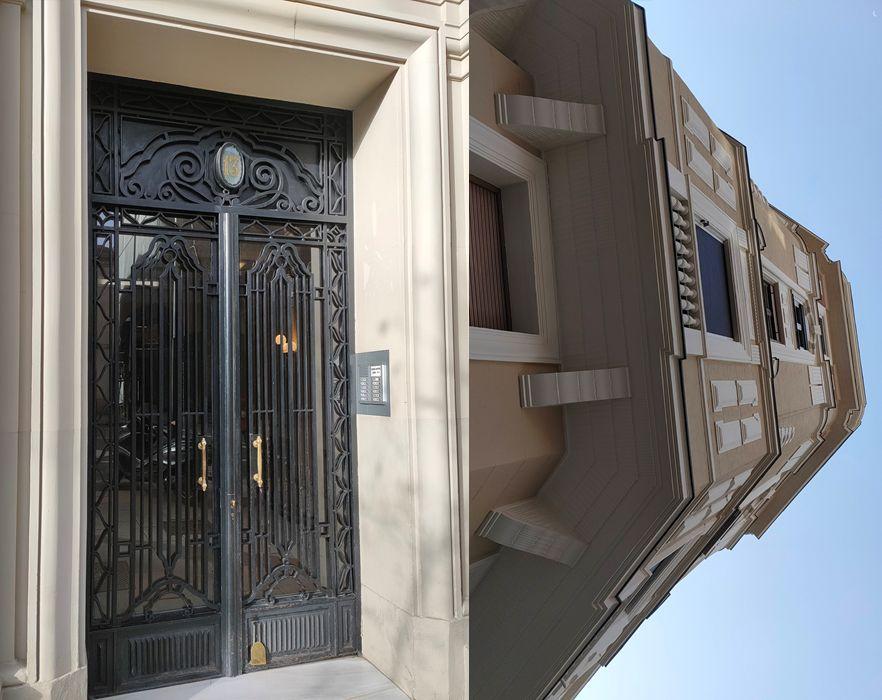Ménsulas y puerta Art Decó en las Viviendas para Don Teófilo Buendía