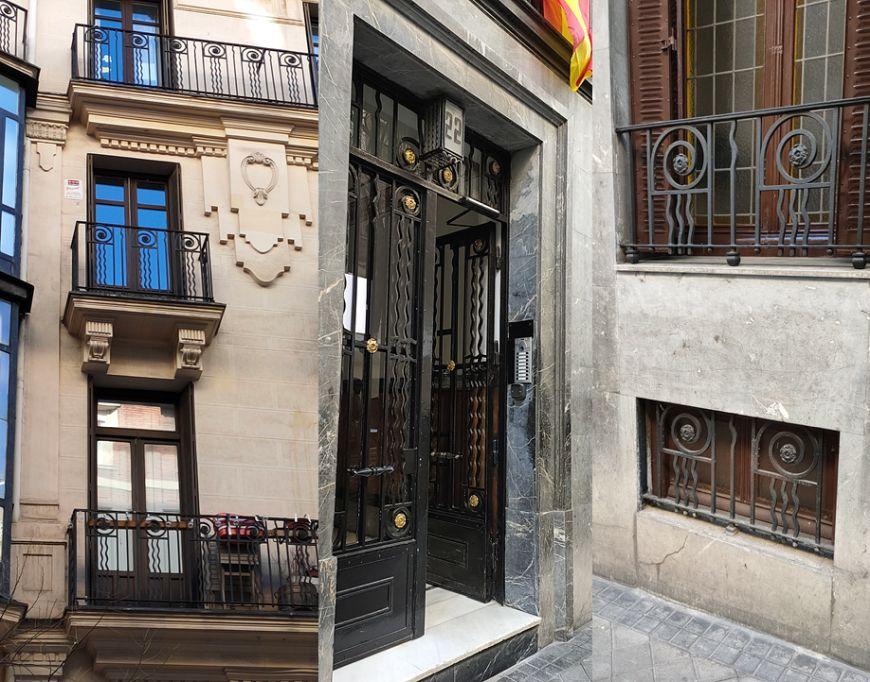 Ornamentación y rejerías Art Decó en Rafael Calvo 22