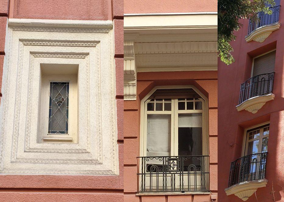 Ventanas y barandillas de la arquitectura Art Decó en Chamberí