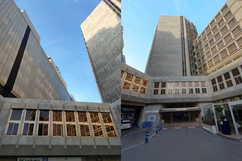 Patio de arquitectura brutalista en Madrid