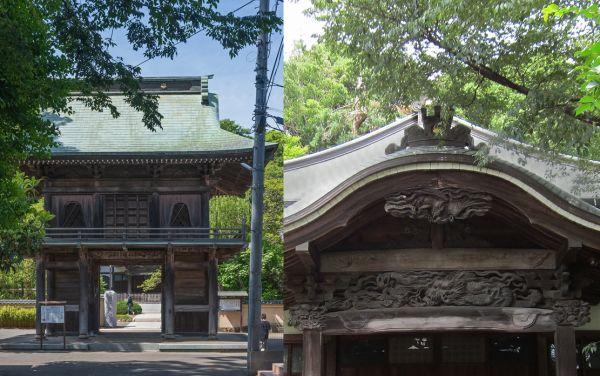 Acceso y artesonado del templo Musashi Kokubun-ji Moderno