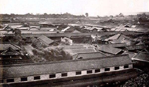 Panorámica con la arquitectura de Tokio en 1864