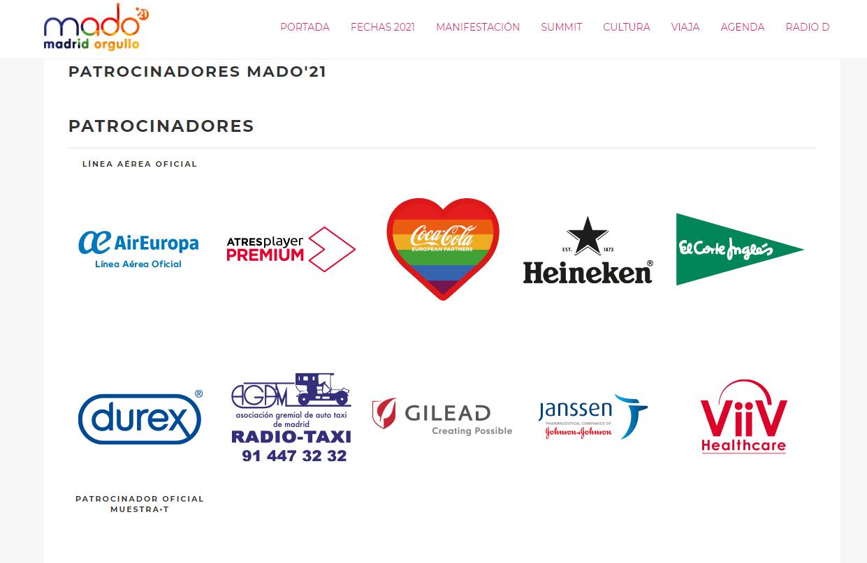 Pinkwashing patrocinadores MADO Orgullo LGTBIQA 2021
