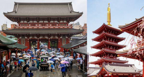Acceso al templo Sensō-ji (desde la famosa calle Nakamise) y pagoda del mismo