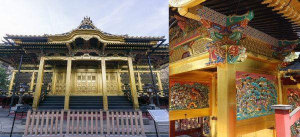 Edificio principal y puerta de acceso al templo Ueno Tōshō-gū