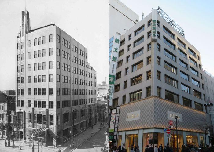 Antes y después del edificio 教文館 de Tokio