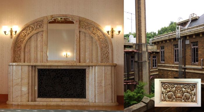 La chimenea y un bajorrelieve interior