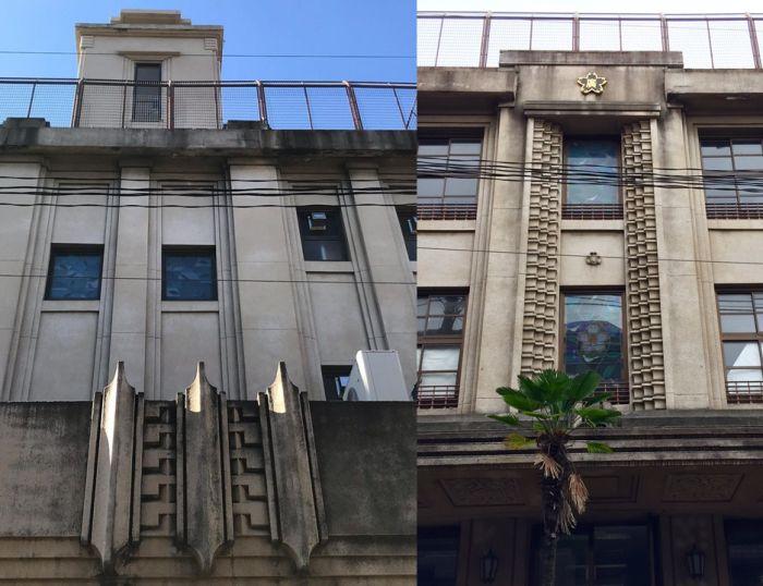 Torreón y ornamentos Zigzag Moderne de la escuela