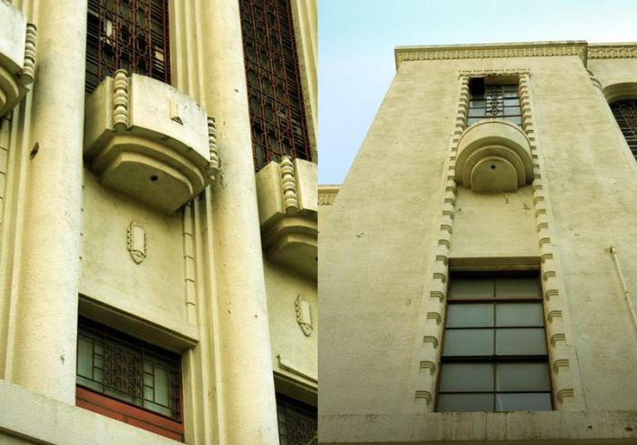 Primer plano de la ornamentación Zigzag Moderne del hospital