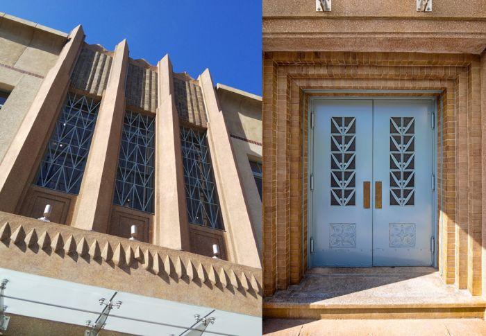 Ventanal y puerta del Pabellón Fénix o Seimei Bunko