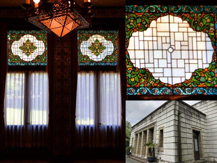 Vidrieras del Seien Bunko y vista lateral del edificio